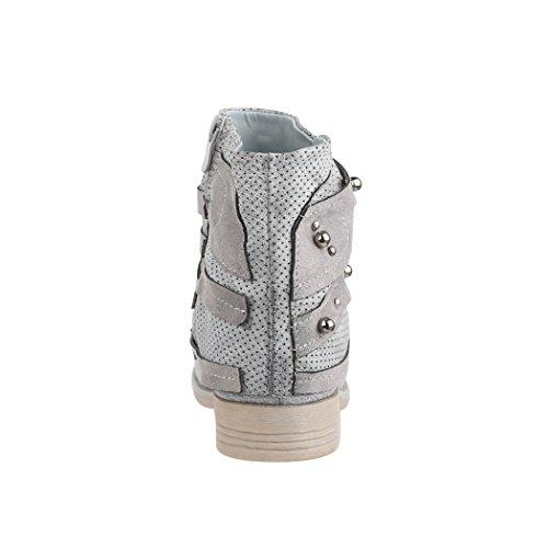 Elara Damen Stiefelette | Bequeme Biker Boots | Metallic Lederoptik | Chunkyrayan Grau