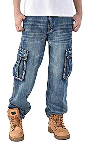 (Men's Loose Fit Denim Jeans Multi Pockets Cargo Baggy Jeans Pants Grey Blue )
