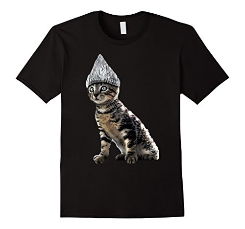 Mens Funny Halloween Cat Tin Foil Hat Conspiracy Shirt for Men Large Black - Tin Foil Halloween Costume