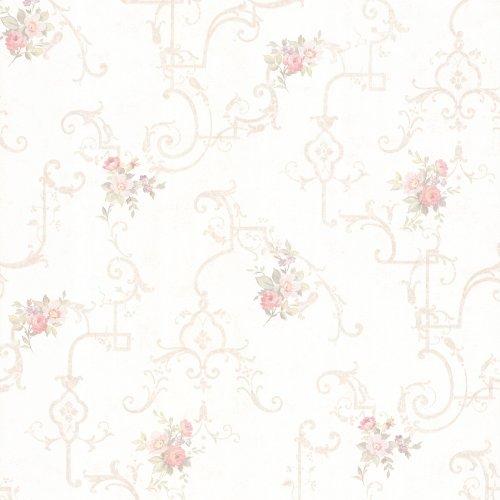 Blush Wallpaper - Mirage 992-68305 Lori Floral Trellis Wallpaper, Blush