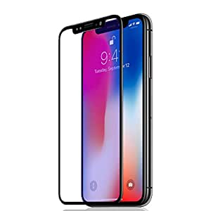 Iphone X Screen Protector, 3D Full Frame 9H Hardness Tempered Shatterproof Glass Screen Protector ( Black)