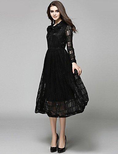 PU&PU Robe Aux femmes Swing Bohème,Couleur Pleine Noeud Midi Coton / Polyester , black-l , black-l