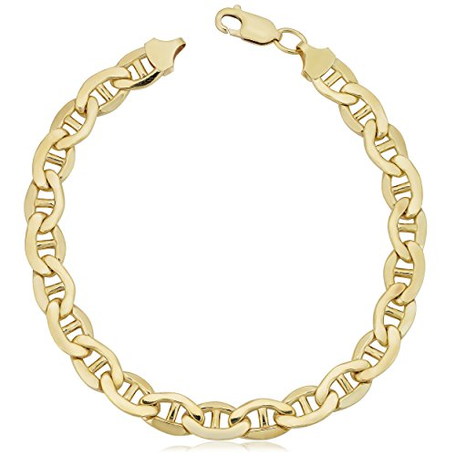 Kooljewelry Mens 14k Yellow Gold Filled Mariner Link Chain Bracelet (7.8 mm, 9 ()