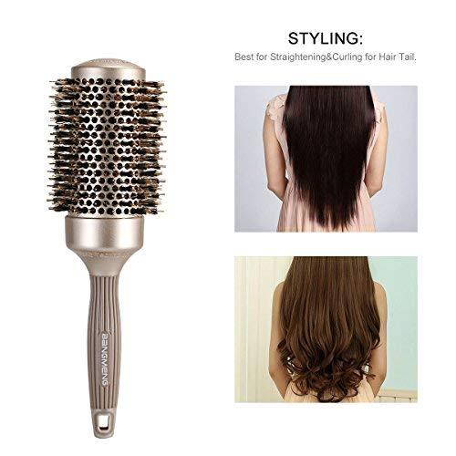 BANGMENG Cepillo de pelo antiestático de barril redondo con cerdas de jabalí, Nano Thermal Ceramic Ionic Tech | Para Brillo Extra | Protege el cabello, ...