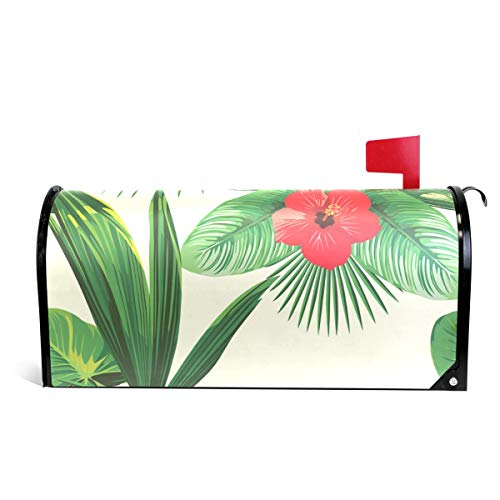 Home Garden Tropical Leaves Pattern Magnetic Mailbox Cover Standard