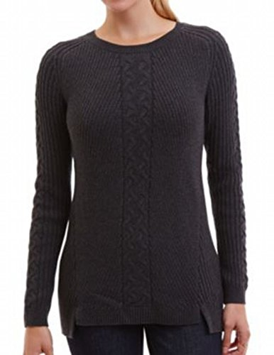 Nautica Ladies' Cable Tunic Sweater-Charcoal, X-Large, Charcoal