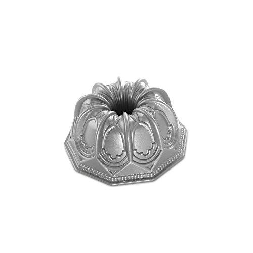 Nordic Ware Vaulted Cathedral Bundt Pan, Metallic Aluminum Platinum Muffin Pan
