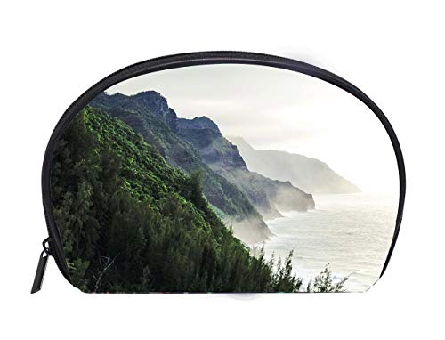 (Half-moon Cosmetic Bag Kalalau trail at Kauai Hawaii in foggy day Travel Cosmetic Case Luxury Makeup Artist Bag)
