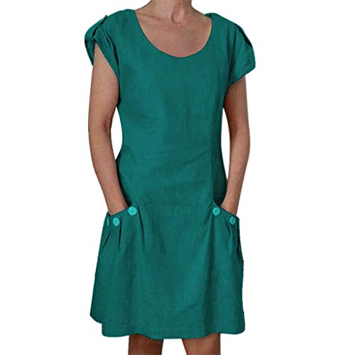 Coedfa Dresses for Women Casual Solid Ruffled Holiday Pockets O-Neck Party Beach Shift Daily Buttoned-Decor Dresses Green