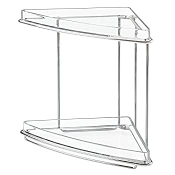 Mdesign 2 Shelf Corner Storage Organizing Caddy Stand For Bathroom Vanity Countertops, Shelving Or Under Sink – Free Standing, 2 Tiers - Steel Wire Frame In Chromeclear Shelves 3