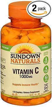 Sundown Naturals Vitamin C 1000 mg Caplets - 133 caplets, Pack of 2