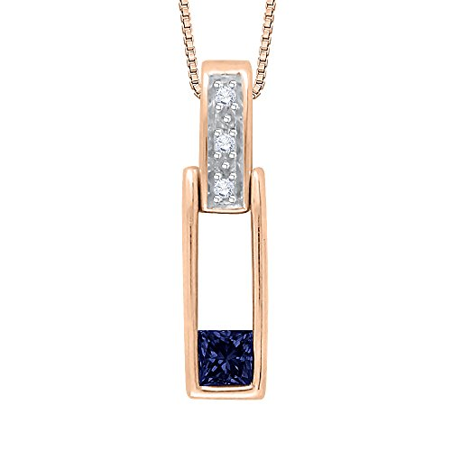 Round and Princess Cut Sapphire Diamond Pendant with Chain in 14K Rose Gold (1/6 cttw) ( G - H Color VSSI Clarity)