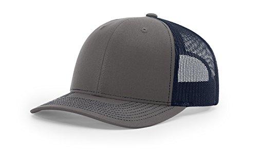 (Running Partner Richardson 112 112P Trucker Mesh Snapback Hat Curved Bill with NoSweat Hat Liner (Adjustable Snapback Split Colorway, Charcoal/Navy))