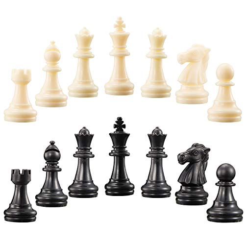 2 Sets Chess Pieces Chess Pawns Tournament Chess Set for Chess Board Game, Pieces Only and No Board, White and Black