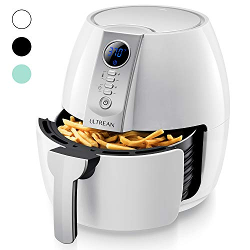 Ultrean Air Fryer, 4.2 Quart (4 Liter) Electric Hot Air Fryers Oven Oilless Cooker with LCD Digital Screen and Nonstick Frying Pot, ETL/UL Certified,1-Year Warranty,1500W (White)
