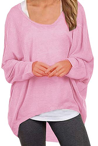 (UGET Women's Sweater Casual Oversized Baggy Off-Shoulder Shirts Batwing Sleeve Pullover Shirts Tops Asia XL Pink)