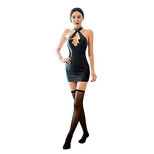 Selebritee Bodysuit Halter Dress Leather Lignerie Costumes for Women Chemise