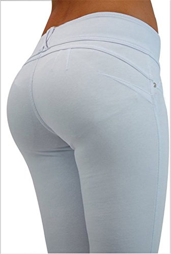Hoverwings Women's Slim tait mince taille pantalon Haute taille Loisirs Grande lasticit (L, Rouge) Blanc