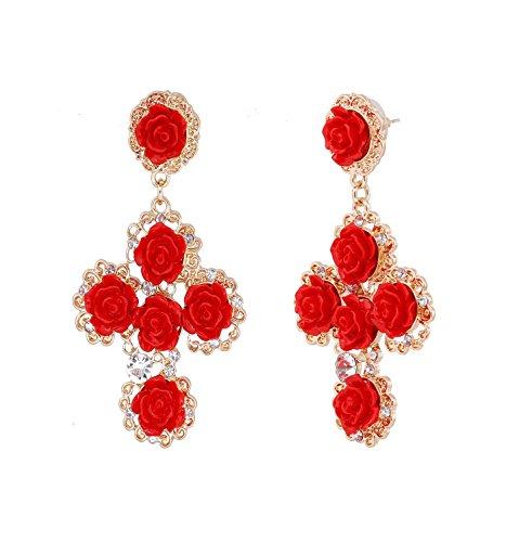 Flower Resin Earrings for Women Crystal Pave Blooming Rose Dangle Earrings Statement Floral Stud Earrings (Red)