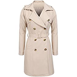 SE MIU Women's Casual Double-Breasted Trench Coat With Belt Kakhi M