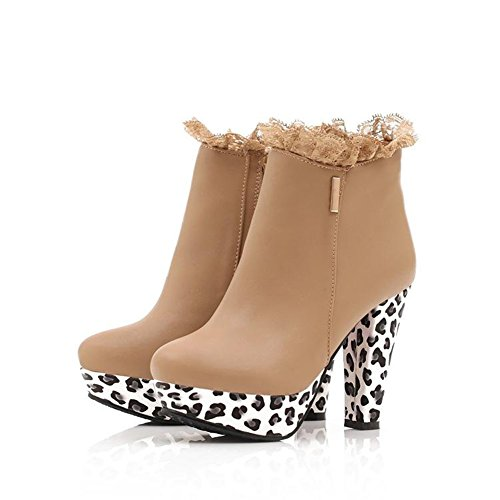 Boot Ankle Multi Overknee Heel Womens Winter Rounded High Fall for Faux Fur Use Platform Stiletto Beige Toe g0W7Rzfwxq