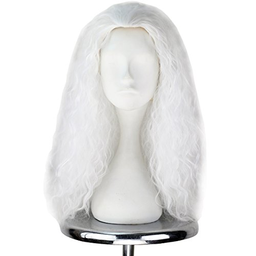 Miss U Hair Unisex Long Curly Hair Party Movie Cosplay Costume Wig Halloween (White) -