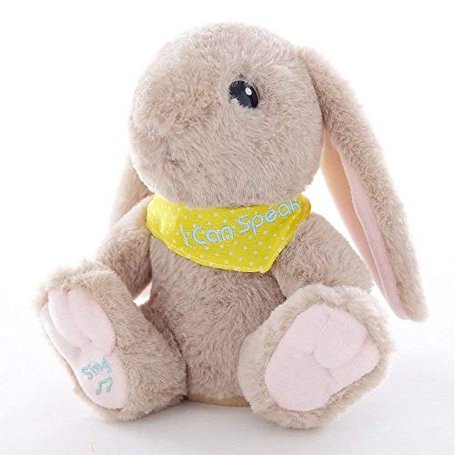 Plush Interactive Talking Bunny Toy Repeats What You Say Singing Rabbit Doll Stuffed Animals Play Musical Educational Toy Baby Children Gift,Light Brown ()