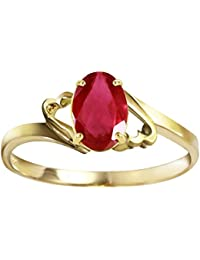 e0c7718f52 Genuine 14k Solid Gold Ring with 1.15 Carat Natural Oval-Shaped Ruby