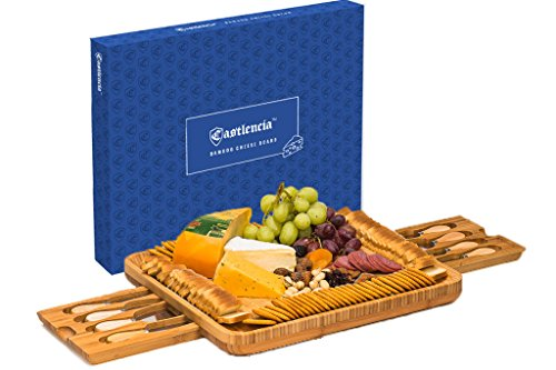 Extra Large Bamboo Cheese Board– Natural Wooden Serving Platter for Spreads, Crackers, Brie, Dried Fruits, Meat and Wine- Double Drawer with 8 Knives– Ideal Gift- Server for Parties- 2018 Design