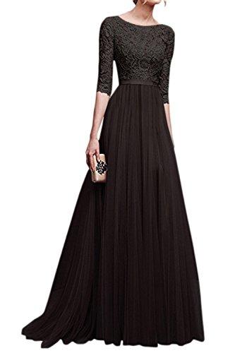 La Mujer Elegante Cuello Redondo Scoop Gasa Partido Formal Ajuste Y Flare Swing Maxi Dress Black