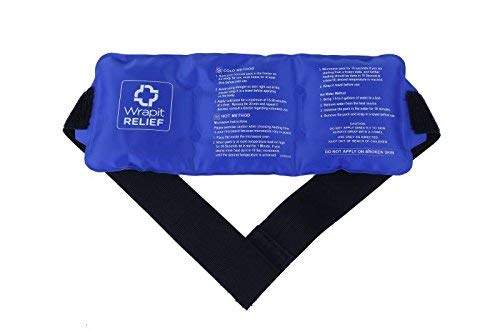 Reusable Ice Pack for Injuries - Large Pain Relief Gel Ice Pack with Strap| Hot/Cold Therapy for Knee, Back, Ankle, Neck and Shoulder| Freezable & Microwavable Pain Relief Packs for Sports by Wrapit Relief