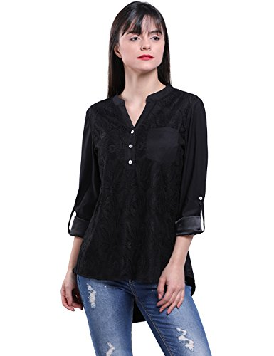 - Fancyqube Women's Casual V Neck Cuffed Sleeve Floral Lace Button Tops Blouses Black L