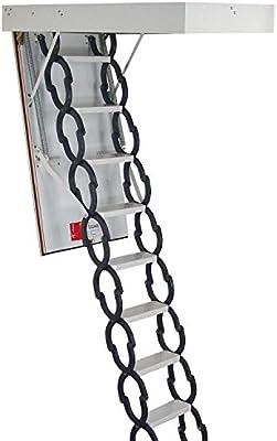 Kit de escalera plegable de 11 peldaños de calidad prémium, con escotilla y marco de puerta,