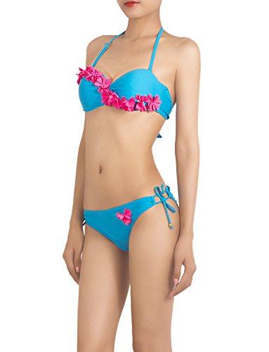 iB-iP Women'S Twill Flower Stitch Halter Tie Side Adjustable Low Rise Bikini Set, Size: M, Sea Blue