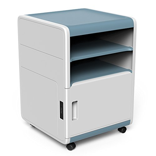 Vertical File Cabinets, Storage Cabinet with 2 Open Drawers with a Combination Lock, Coded-lock Rolling Cabinet for Documents, Pencil, Pens, Files, and Other Office Essentials, 16.5