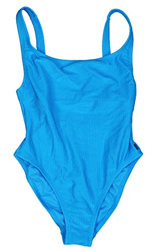 (Reebok Ribbed One-Piece Swimsuit Women's Turquoise Blue Size Small)