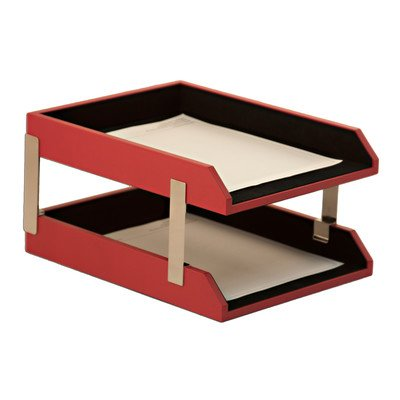 The Dacasso Double Leather Letter Trays with Stacking (Stacking Posts)