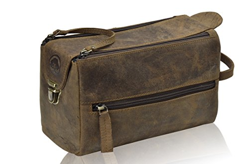 TONY'S BAGS Handmade Buffalo Genuine Leather Toiletry Bag Dopp Kit Shaving and Grooming Kit for Travel > Gift for Men Women – Hanging Zippered Makeup …