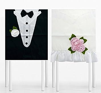 Stuhl Deko Hochzeit stuhlhusse hochzeit 2 teilig braut und bräutigam stuhl deko hochzeit