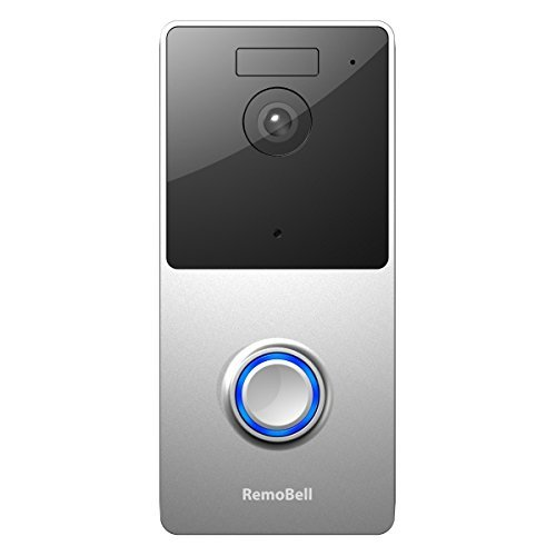 RemoBell WiFi Video Doorbell (Battery Powered, Night Vision, 2-Way Audio, HD Video, Motion Sensor) (Silver)