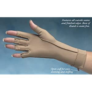 ISOTONER Fingerless Therapeutic Gloves - A25830 (Medium, Camel)