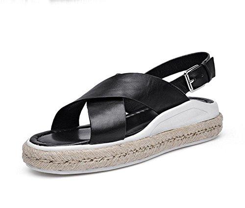RuiOffene Sandalen dicke Kruste Muffin weibliche wilde Hanf Schuhe Strandschuhe B