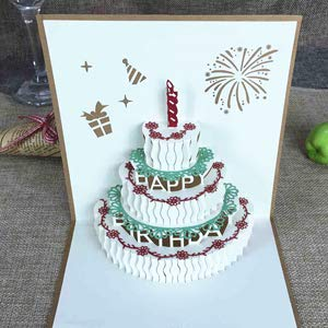 Happy Birthday Postcard Greeting Gift Cards Blank Paper 3D Handmade Pop Up Laser Cut Vintage Invitations Custom with Envelope -