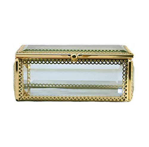 Clear Glass Jewelry Box Display Case w/Hinged Top Lid for Girls Romantic Keepsake Gift(Rectangle) ()