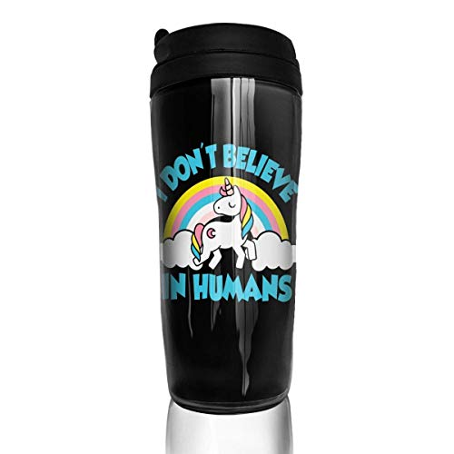 AUUOCC Unicorn I Don T Believe In Humans Stylish Insulated Traveler Coffee Mug Tumbler Stainless Steel Coffee Cup 12 Ounce