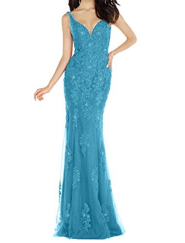 Bodenlang Braut Brautmutterkleider mia Festlichkleider Blau Meerjungfrau Abschlussballkleider Abendkleider Figurbetont Langes La qU5CnTx8T