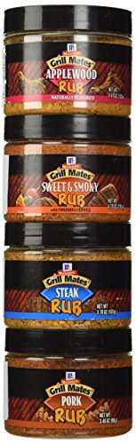 McCormick Grill Mates Meat Rub 4 Flavor Variety Bundle: (1) Grill Mates Steak Rub, (1) Grill Mates Sweet & Smoky With Cinnamon & Chipotle Rub, (1) Grill Mates Pork Rub, and (1) Grill Mates Applewood Rub, 3.46-4.76 Oz. Ea. (4 Jars Total)