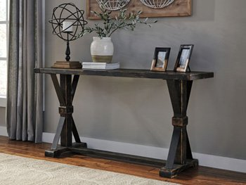 "Ashley Beckendorf Collection T096-4 64"" Sofa Table With Pine Solids and Planked Look Thick Veneers Stretcher and Metal Brackets in"