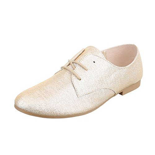 Ital-Design Women's Lace-Up Flats Gold HS21 PMxZgY7pA