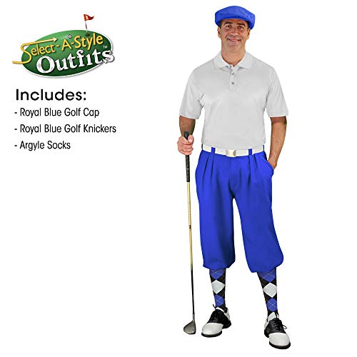 - Golf Knickers Mens Select A Style Outfit - Matching Golf Cap - Royal - Waist 36 - Sock - Black/Royal/White